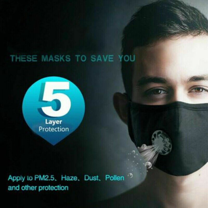 Anti Pollution Cotton Face Mask Filter-Washable Double Valve 5 Layer PM 2.5 Mouth Mask For Allergy/Asthma/Travel 2