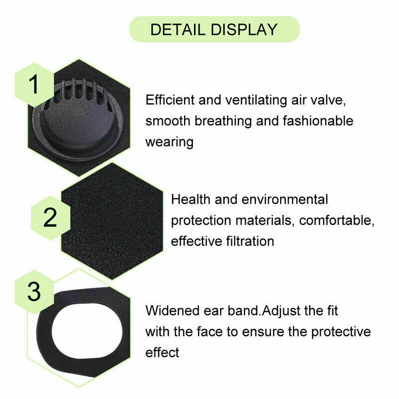 Fashion Solid Reusable Cotton Face Mask Activated Carbon Mask With Filter-Washable Unisex 3