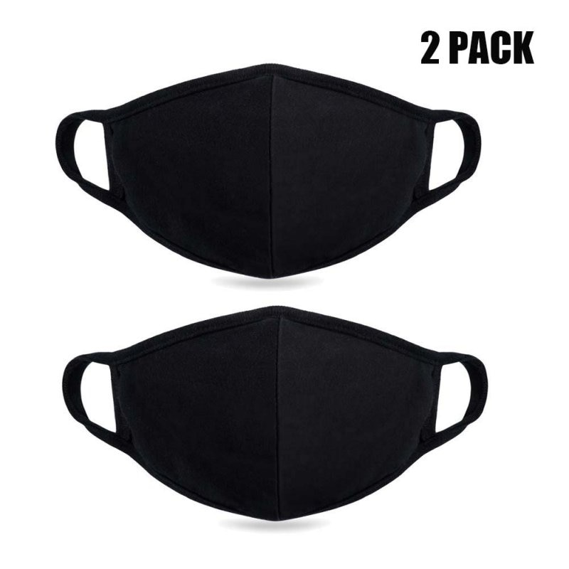 2pcs Safety Mouth Mask Adjustable Anti Dust Face Mouth Mask Black Cotton Face Mask For Outdoor Cycling Camping Travel 1