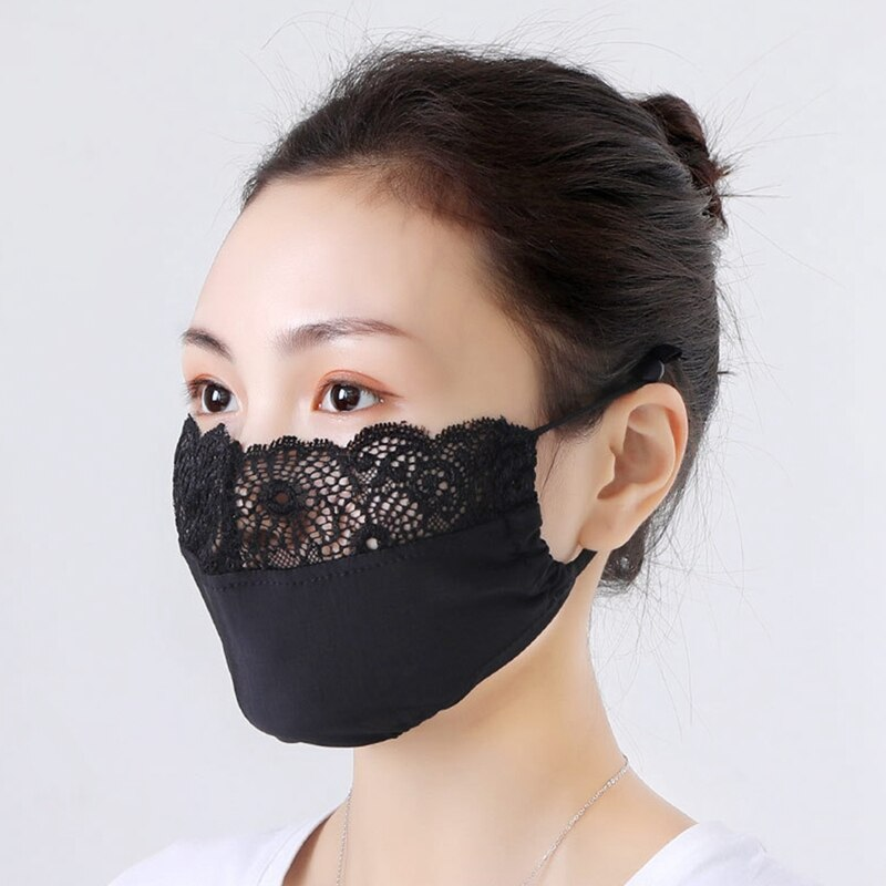3pcs Summer Washable Ice Silk Cotton Face Mask Thin Sunscreen Vintage Lace Masks Lady's Dust Protection Riding Mouth-Muffle 1