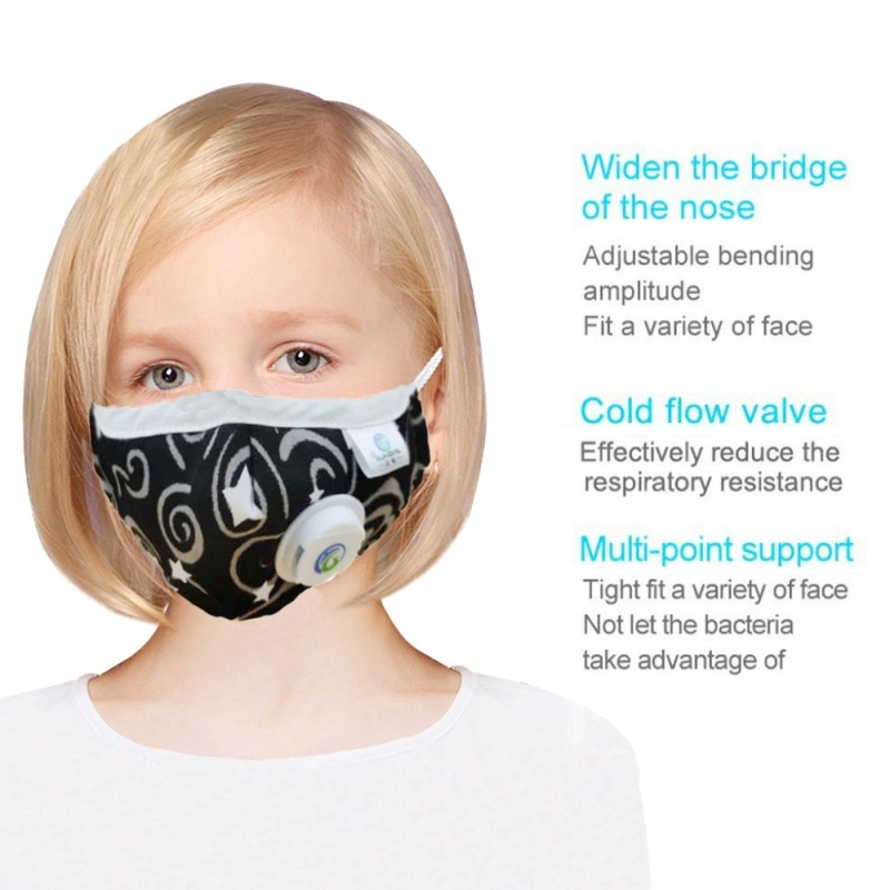Children Mask With Breath Design Replaceable Filter Kids Anti Dust Mouth Mask PM2.5 Respirator Kids Face Mask Health Protective 3