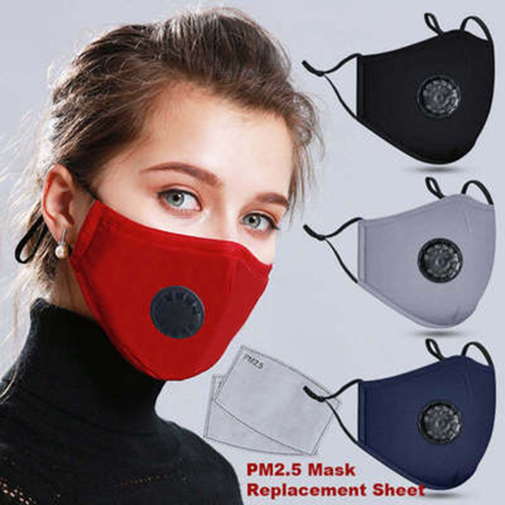 A Cotton Face Mask Breath Valve PM 2.5 Mouth Mask Anti-dust Activated Carbon Mask With Filter-Washable Reusable respirator 1