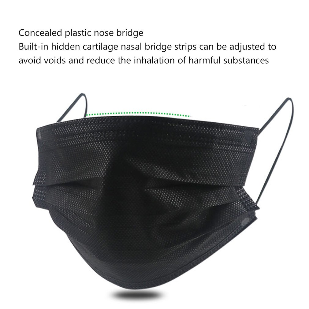 50pcs/100pcs Disposable Face Mouth Mask High efficiency filtration adjustable 3D fitting design Light and breathable black 1