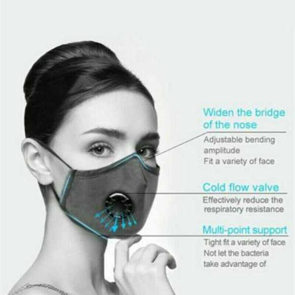 Anti Pollution Cotton Face Mask Filter-Washable Double Valve 5 Layer PM 2.5 Mouth Mask For Allergy/Asthma/Travel