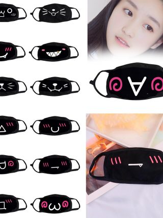 Eco-friendly Non-woven Face mask Cute Cartoon expression Print Design Dual Layer Filter Soft Breathable Mouth Mask