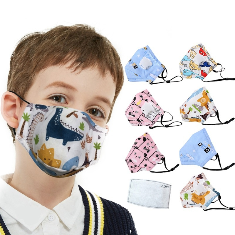 1PC Children Mask With Breath Design Replaceable Filter Anti Dust Mouth Mask PM2.5 Respirator Kids Face Mask 1