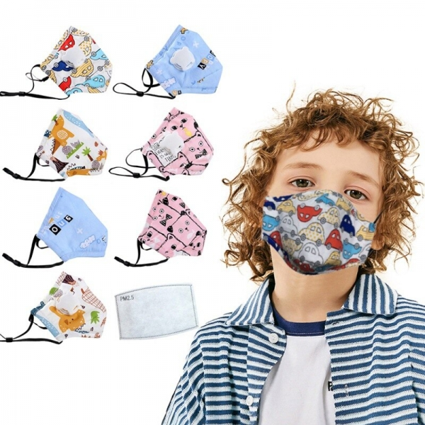 Children Mask With Breath Design Replaceable Filter Anti Dust Mouth Mask PM2.5 Respirator Kids Face Mask With Replaceable Filter