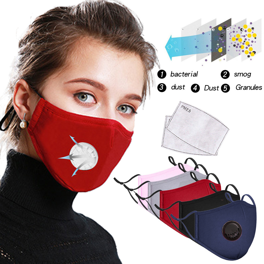 AntiDust PM2.5 Mouth Mask With 2 Replaceable Filters Anti Pollution Breathable Cotton Face Mask Washable Respirator Mouth-muffle 2