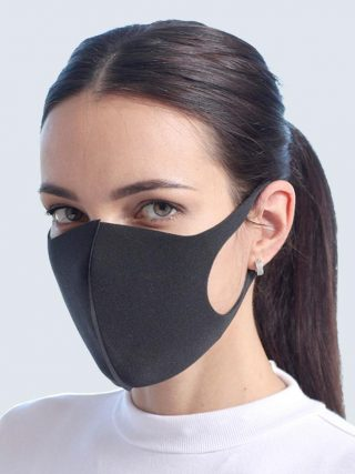 Cotton Face Mask breathable Stretchable Ear Loops Protection Dustproof Washable and Reusable Black Durable And Wear-resistant