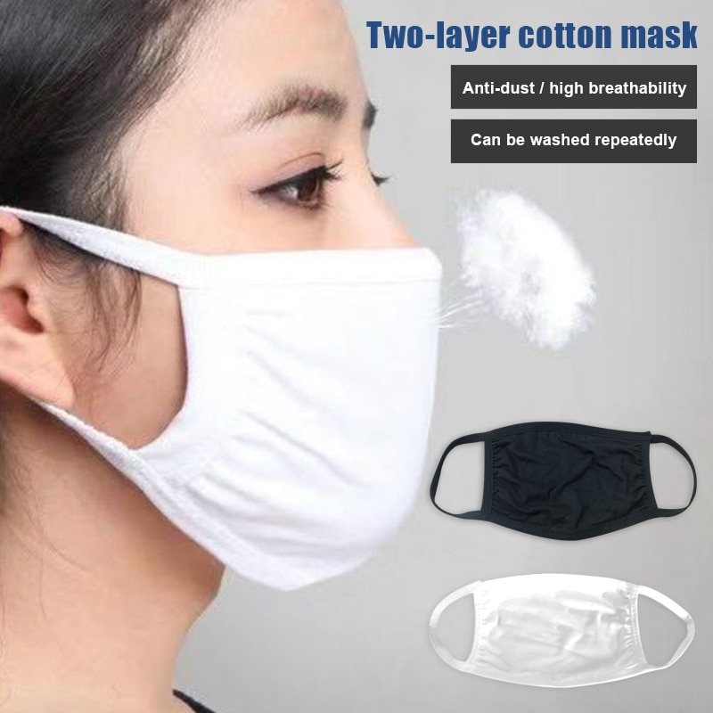 3Pcs Lots Cotton Face Mask For Adult Dual Layer Breathable Filter Anti Pollution Germ Mouth Mask Dustproof Washable PM2.5 Masks 1