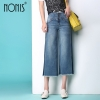 Denims broad leg Straight trousers strech calf-length