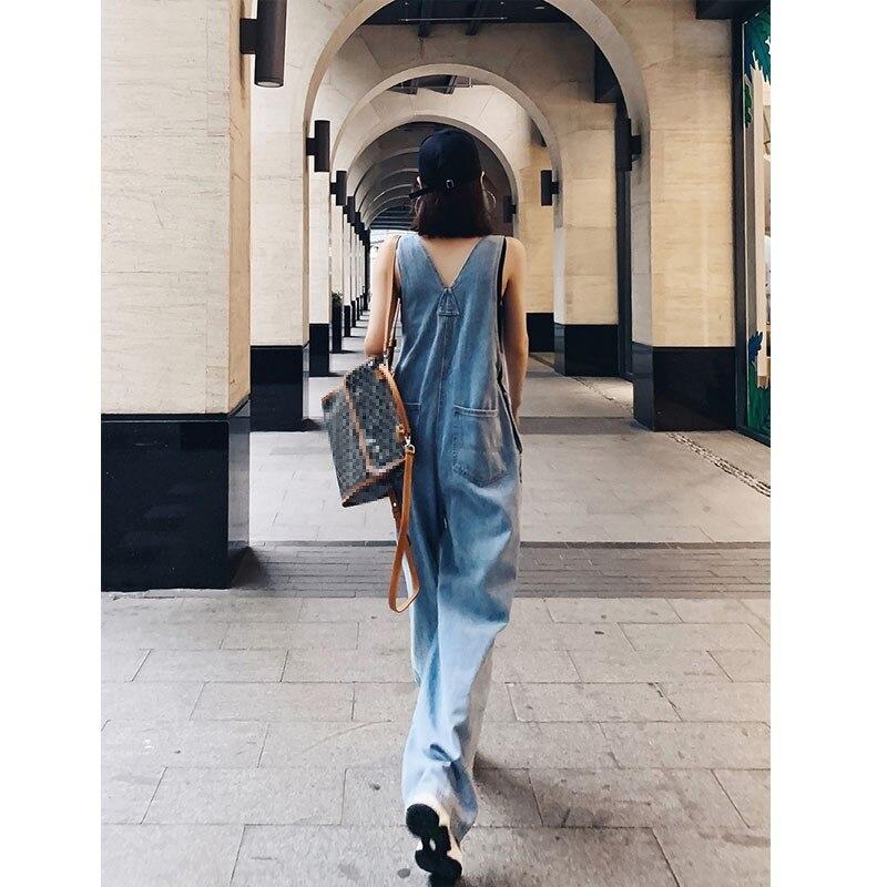 Denim Overall Women's 2020 New Summer Drape Wide Leg Jeans Korean-Style Loose Mopping Pants Women's Fashion 3