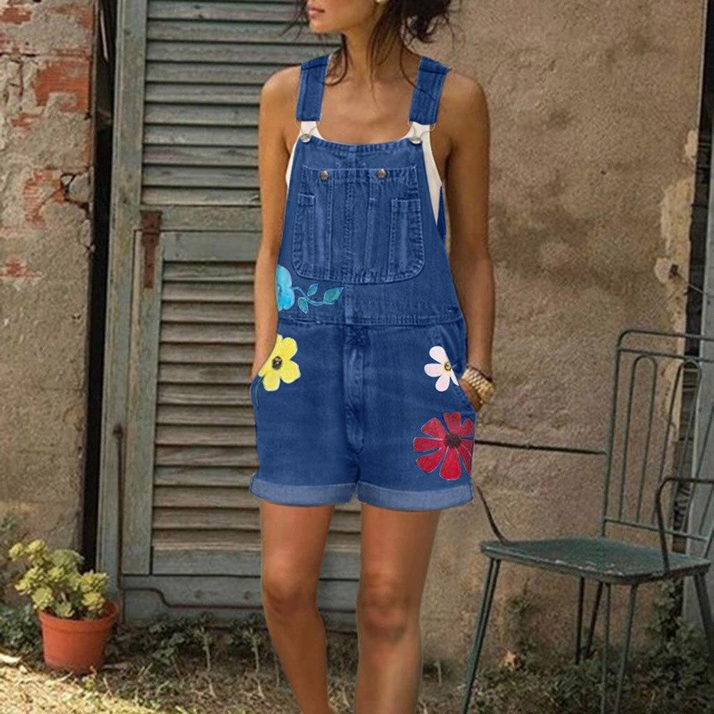 Womail Jumpsuits Women Summer Playsuit Denim Romper Overalls Oversized Jean Blue Sleeveless Denim short Jumpsuit Bodysuit 2020 3