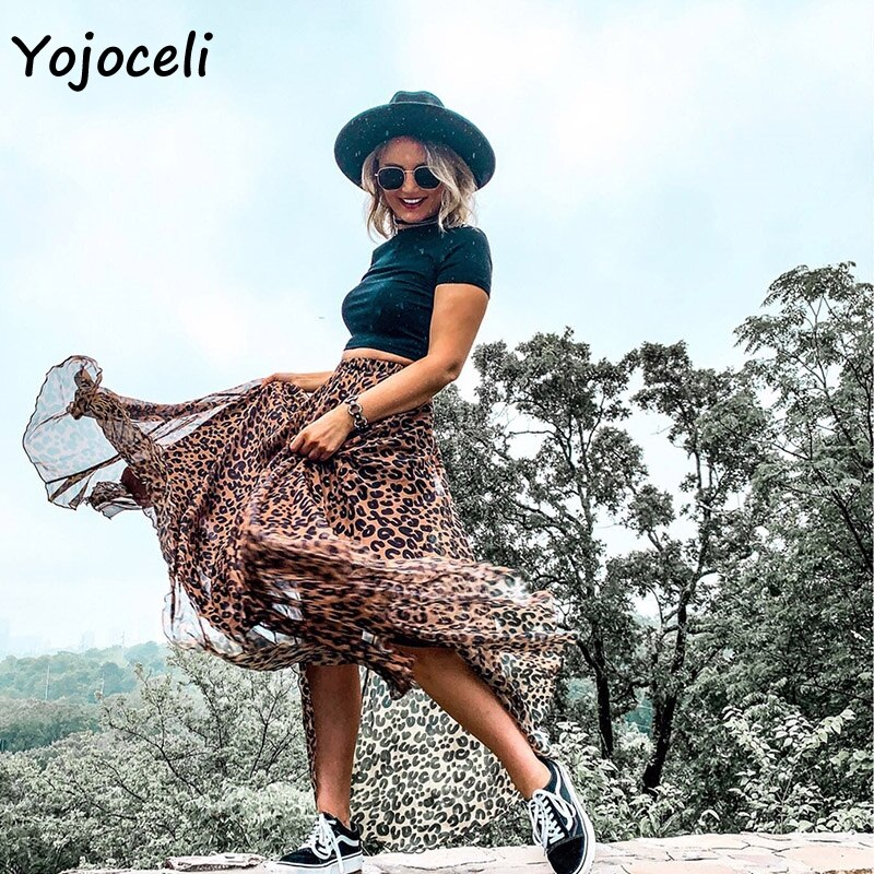 Yojoceli leopard chiffon skirt bottom women long skirt streetwear boho female skirt print skirt bottom 1
