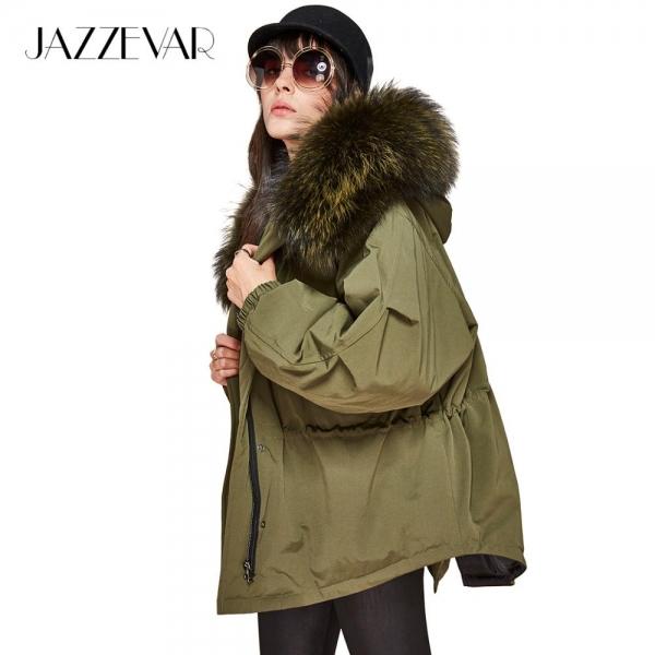 JAZZEVAR New winter Girls down jacket oversize Dovetail 90% white