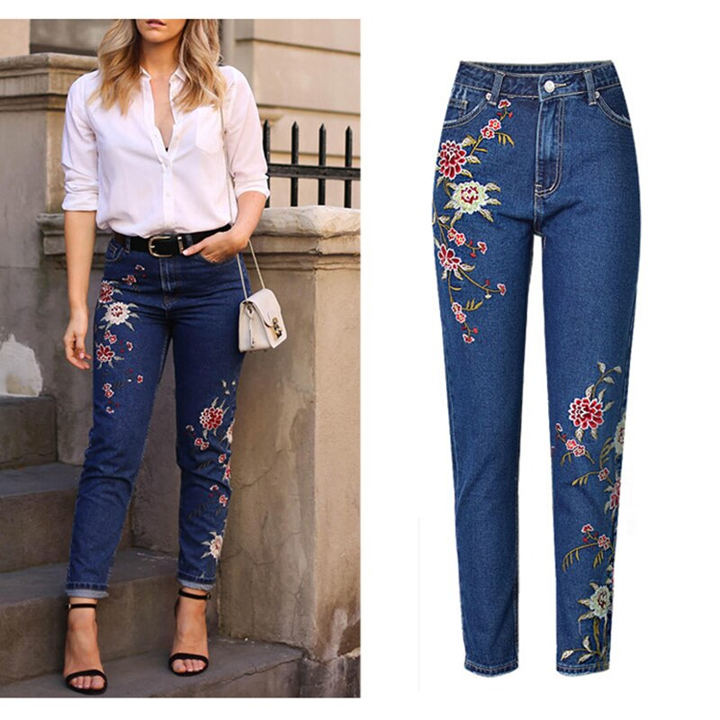 Hot Fashion Jeans Women's Clothing Straight Denim Jeans Pants 3D Floral Embroidery Pants High Waist Ladies Loose Jeans Trousers
