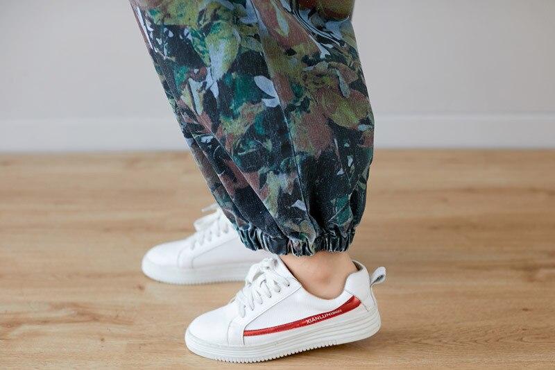 Plus Size Jeans Woman High Waist Long Sleeves Rompers Womens Jumpsuit Cotton Denim Overalls O-neck Print Loose Pantalon Femme 3