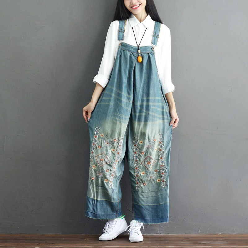Women Suspender Jumpsuit Embroidery Denim Jeans Rompers Sleeveless Backless Vintage Baggy Dungarees Overalls Wide Leg Pants 2020