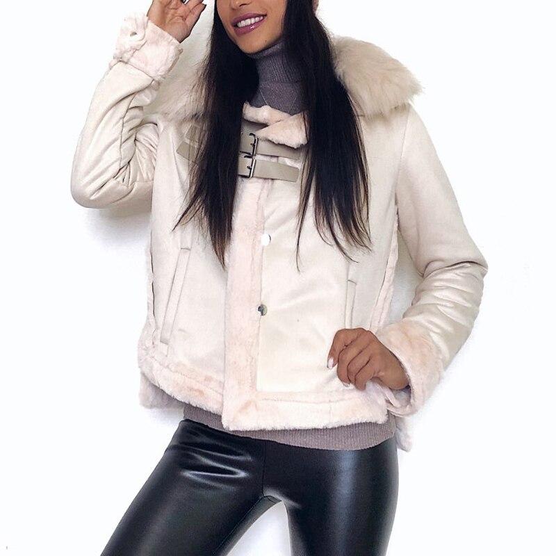 2019 Winter Women Jacket Artificial Wool Leatherette Female Wadded Coat Warm Slim Fleece Thicken Mujer Jacket Fur Neck Women Top 1