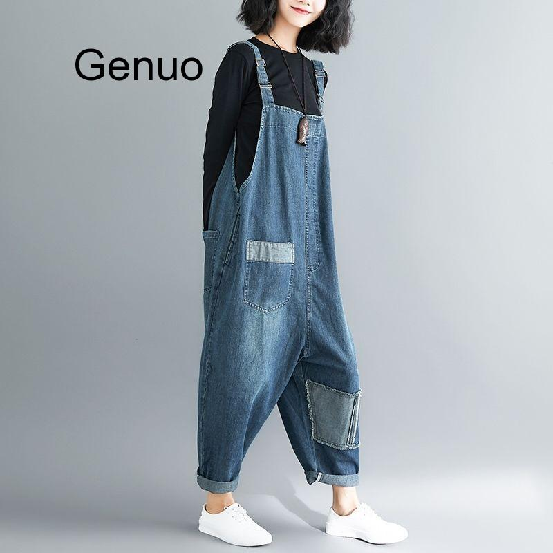 Women Clothing Denim Fabric Patch Rompers Spring/autumn Overalls Women Jumpsuits Suspenders Jeans Women Overalls Female Rompers 4