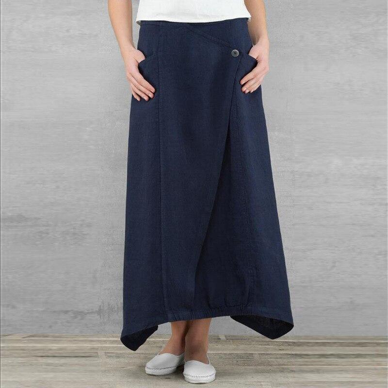 2020 Summer Women Linen Long Skirts Casual Loose High Waist Maxi Skirts Asymmetrical Hem Skirt Jupe Saia Femme Plus Size 3