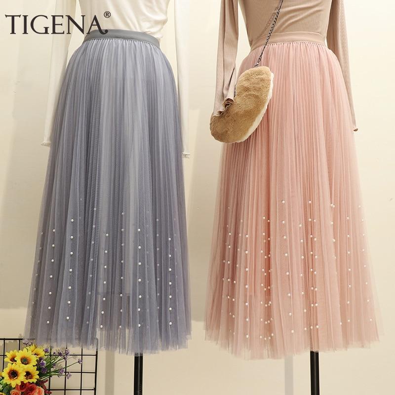 TIGENA 3 Layers Fashion Women Long Skirt Tulle with Beading 2019 Summer Korean High Waist Pleated Skirt Female Pink White Skirt 1