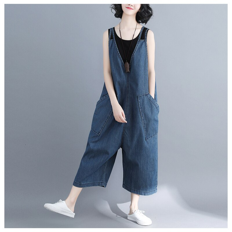 casual Denim Jumpsuit summer Ladies Long Pants rompers women jumpsuit Overalls ripped jeans Strappy Off Shoulder jeans PP-309 3