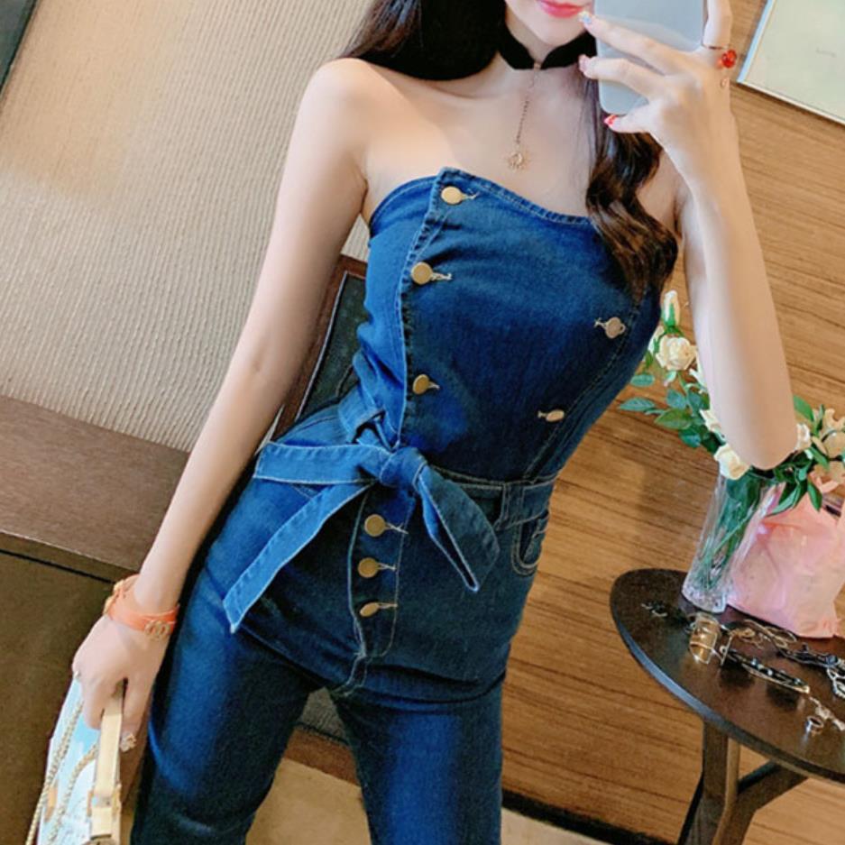 Off Shoulder Denim Jumpsuits Overalls Women Jeans Playsuit Strapless Pencil Pants Romper 4