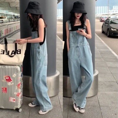 Girl Overalls Denims Jumpsuit Autumn Trend Blue Rompers