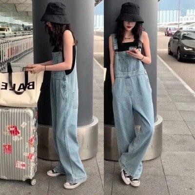 Harajuku Wide Leg Women's Jeans Plus Size 2020 Loose Woman Overalls Jeans Jumpsuit Autumn Fashion Blue Rompers Female Jeans