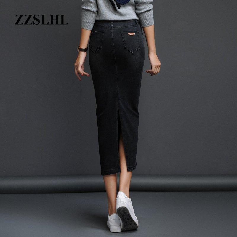 Classic Denim Skirt Woman Long Jeans Skirt Split High Waist Skirts Womens 2020 Women Skirt Washed Jupe Femme Black Blue 3