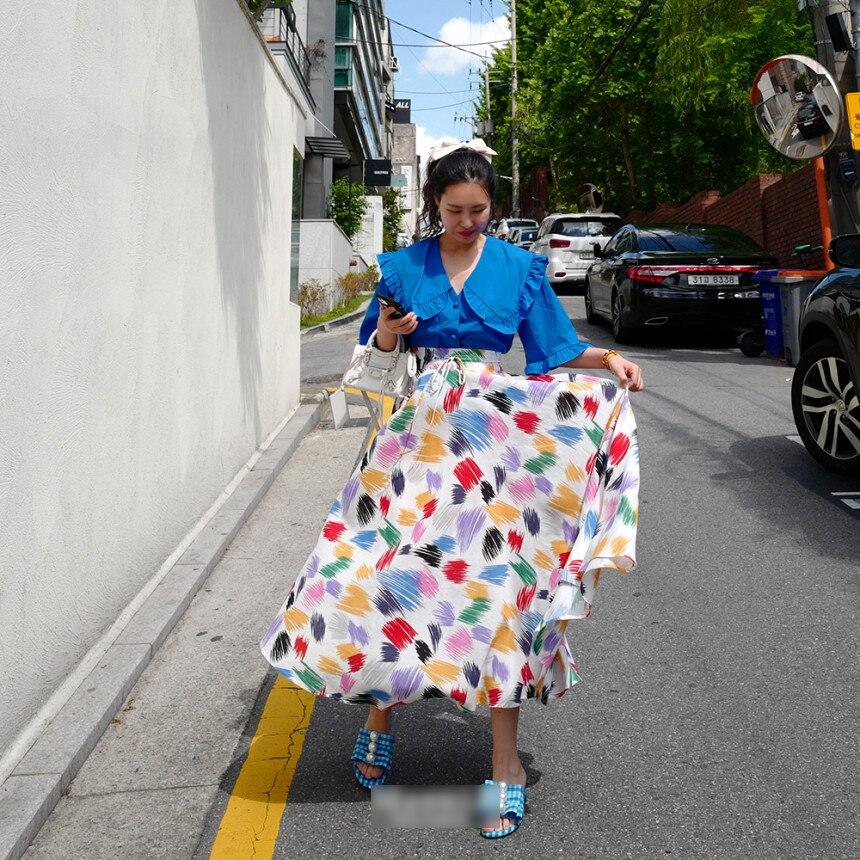 Colorful White Print Women Long Skirts New Korean Chic SummerLace-up High Waist Skirt Large Sewing Bohemian Beach Skirt 2020 4