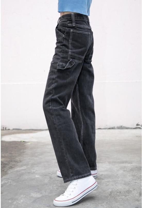 Jeans Women Loose Pants High Waist Pants Brandy Melville Women Straight Pipe Jeans Denim Pants Trousers Stretch Jeans Dropship 3