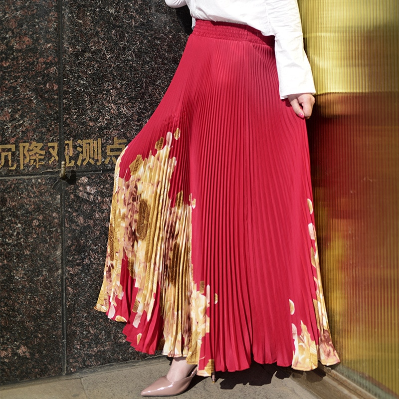 Women Long Pleated Skirt Brand Summer Elastic High Waist Maxi Skirt Sexy Beach Vintage Skirts Womens Faldas Saia 3