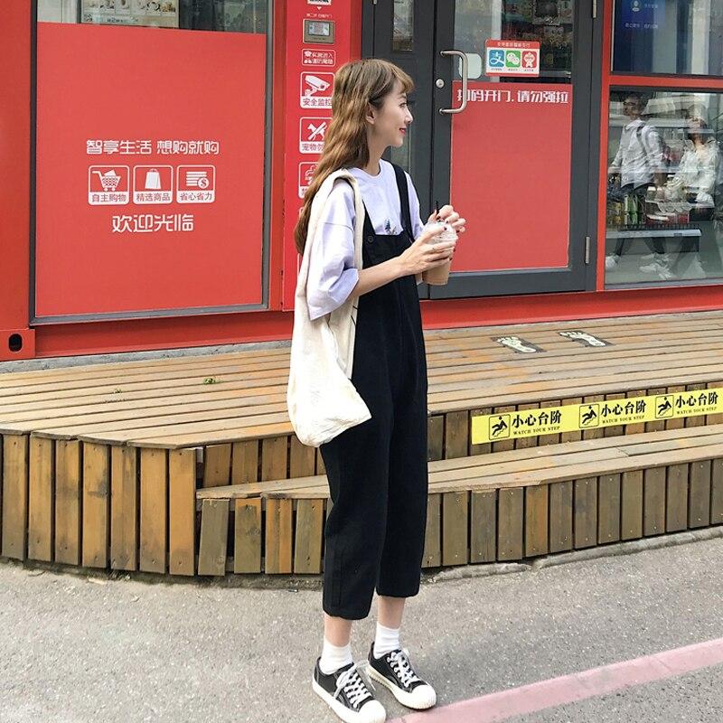 2020 Summer Women Cotton Loose Waist Straight Adjustable Shoulder Straps Washed Hole Ankle-Length Jeans Overalls K20 3