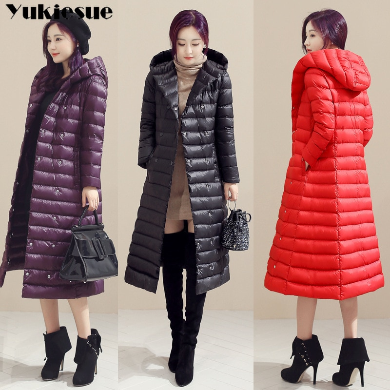 2018 Spring Plus Size 3XL Long Womens Down Jackets Ultra Light 90% Duck Down Coat Winter Hoodie Puffer Jacket womens parkas 1