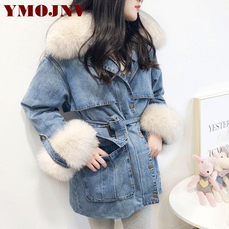 YMOJNV Winter Women Coat Denim Down Jacket Real Natural Fox Fur Collar 90% White Duck Down Liner Warm Parka Female Outerwear 1