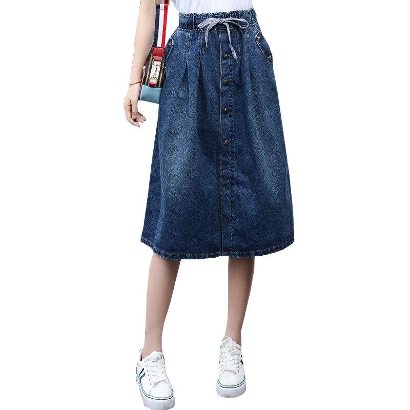 2019 High Waist Cotton Denim Women Long Skirt Lace-Up Waist Oversize Women Denim Skirt Plus Size 7XL Women Skirts Faldas Saias 1