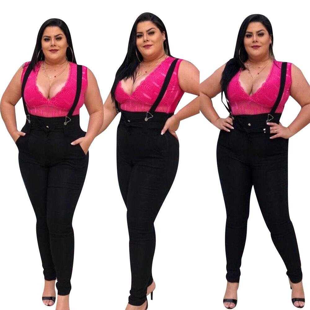 5XL Women Jeans Jumpsuit Casual High Waist Overalls Jeans Plus Size Black Skinny Jeans Woman Streetwear Denim Pant Playsuit D25 1