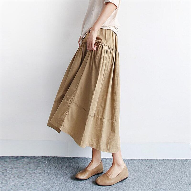 Summer Autumn Women Long Skirts 2020 Solid Elegant High Elastic Waist A Line Maxi Skirt Plus Size Skirts M-7XL Black Khaki Blue 3