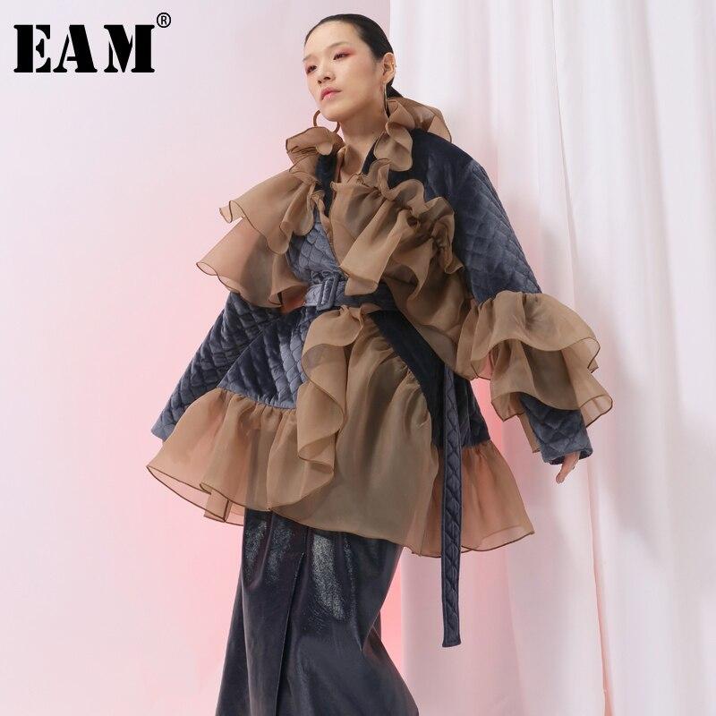 [EAM] 2020 New Spring Ruffles Mesh Stitch Loose Large Size Velour Cotton-padded Coat Women Jacket Fashion Tide JI588