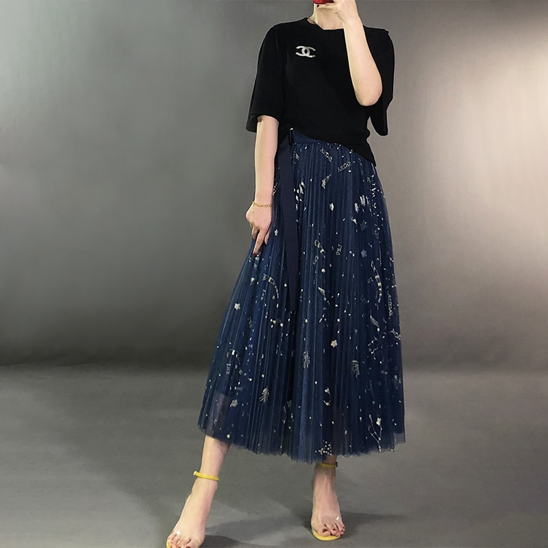 Heavy Constellation Star Embroidered Multi-level Mesh Skirt Women Long Skirt 2019 Spring Autumn Ladies Mesh Skirt Nancylim Brand 4
