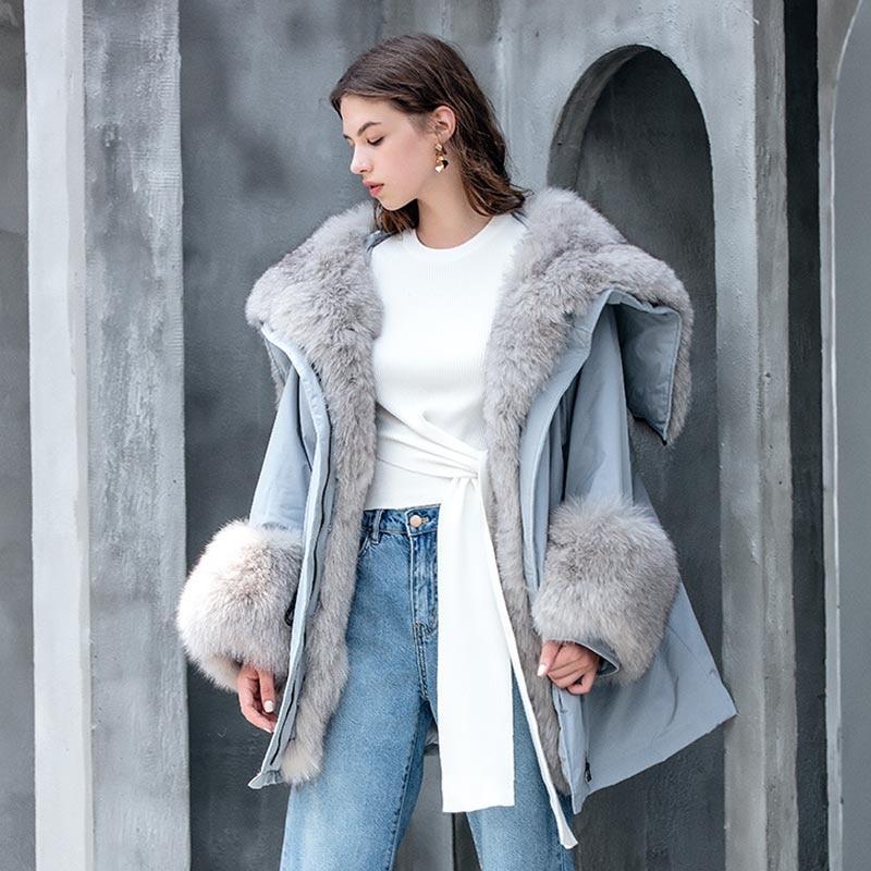 Big Real Raccoon Fox Fur Collar hooded Women Down Jacket 90% White Duck Down Coat Outwear Winter Women's Parka Female Plus Size 4