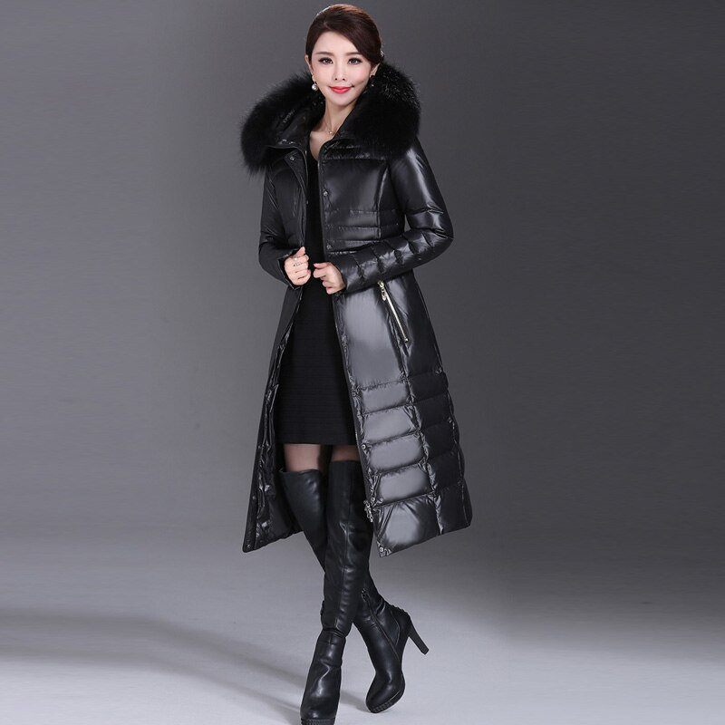 AYUNSUE 2020 Winter Duck Down Jacket Women Long Slim Coat Female Womens Down Jackets With Real Fur Collar Plus Size 5XL WYQ800 2