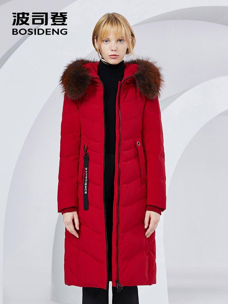 BOSIDENG X-Long winter coat women down jacket 90% duck down thicken outwear natural fur raccoon fur waterproof B80141046 4