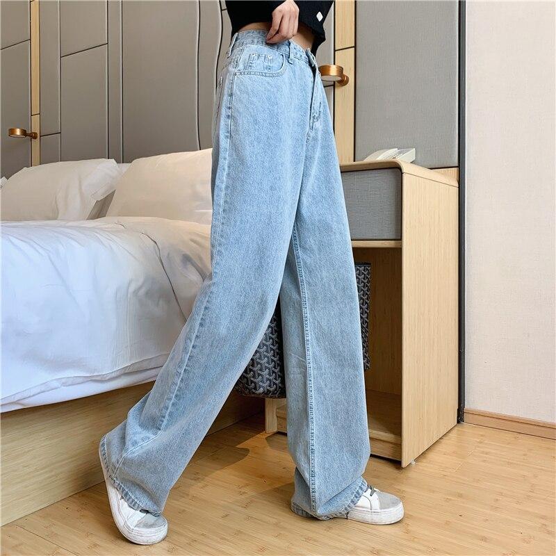 High Waist Mom Gloria Plus Size Denim boyfriend Jeans For Women Streetwear Straight Jean Femme Blue Cargo Pants Wide Pants 1