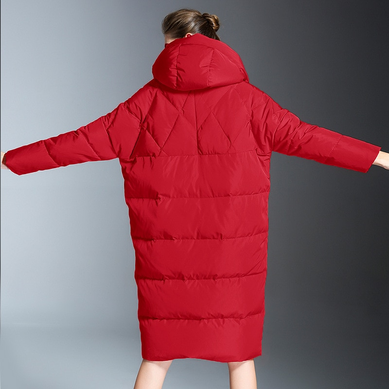 2020 Winter casual loose Cocoon Jacket Thick&Long sleeve hooded with Parkas winter women down jacket S-7XL big pocket 2