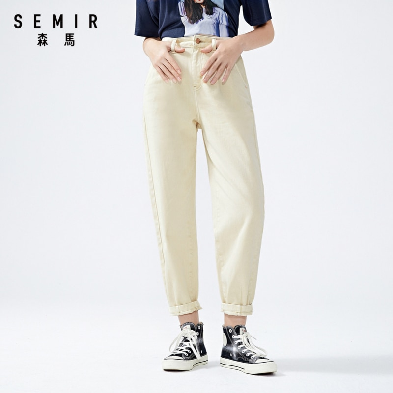 SEMIR Women cotton jeans 2020 summer new loose high waist demin pants trend straight simple ladies casual jeans for travel 3