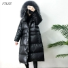Giant Actual Pure Raccoon Fur Winter Ladies Down Jacket
