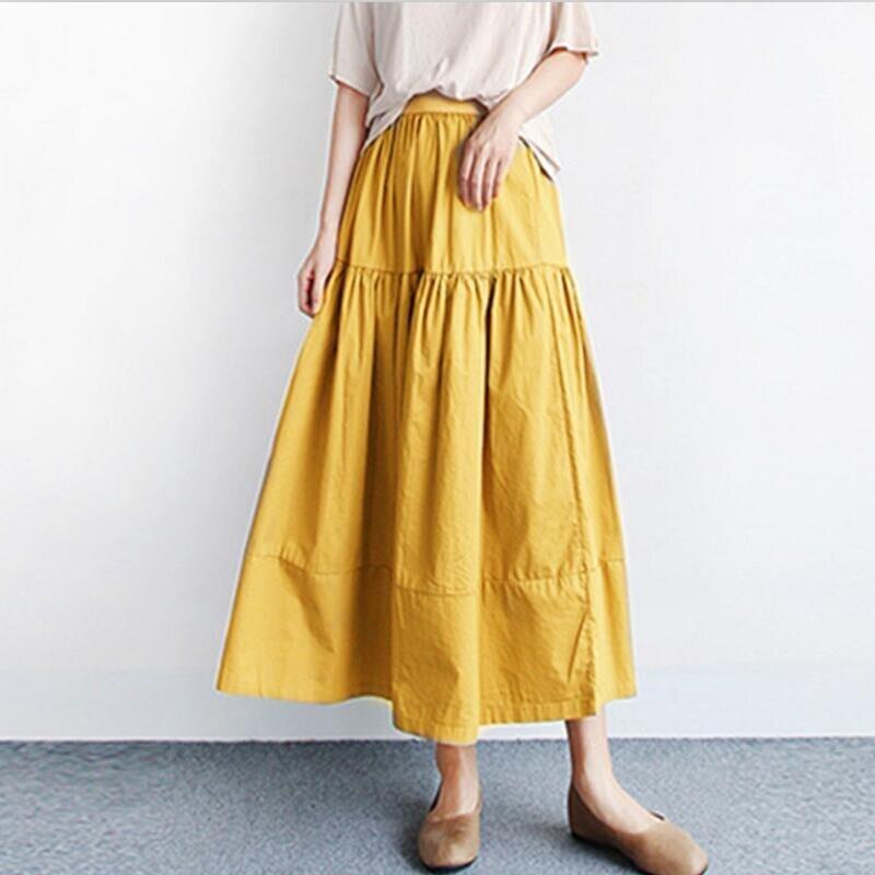 Summer Autumn Women Long Skirts 2020 Solid Elegant High Elastic Waist A Line Maxi Skirt Plus Size Skirts M-7XL Black Khaki Blue 2